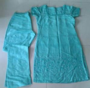 Turquoise beaded punjabi suit