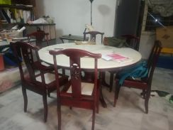 Big round marble dining table. with 6 chairs