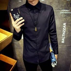 Spring New Style Men's (Black Long Shirt)