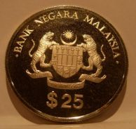 1986 Silver 25 Ringgit PROOF 5th Malaysian
