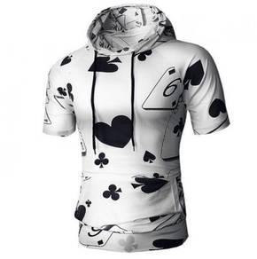 Poker Trend Hooded Short Sleeve T-Shirt MFCYG 9511