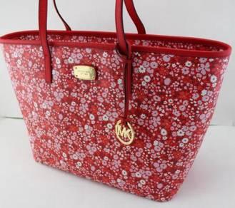 Michael Kors Emry Lg Tz Tote Dk Sangria Red Floral