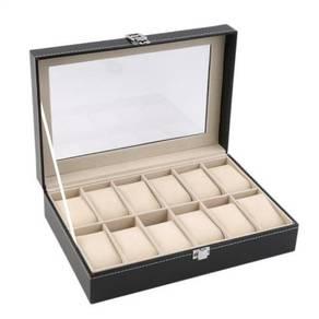 Kotak jam / box jam pu leather 12 slots 10