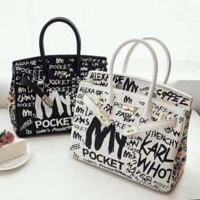 Black white handbag bag graffiti slingbag RBHB007