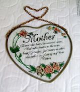 Heart-Shaped Glass Dedication to Mother (1980s)