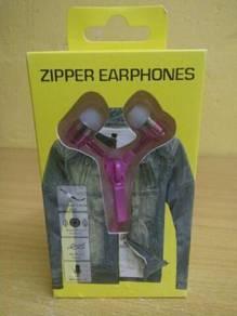 Zipper Earphones (Pink colour) - New
