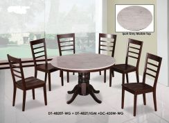 4 FT Round Marble Table Dining Set 1+6