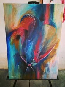 Lukisan Abstrak Arowana S1