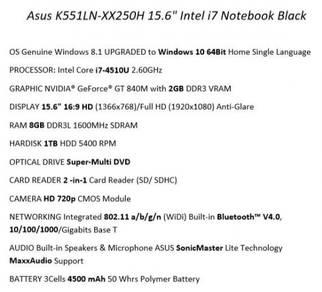 Asus K551LN-XX250H 15.6