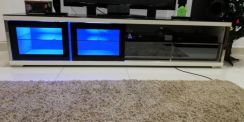 Used 7 feet tv cabinet with black glass top