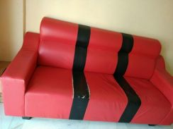 Three seater sofa with a stool