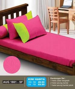 Set Cadar Single Bergetah Pink