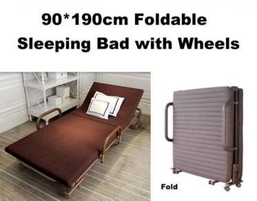 90*190cm Foldable Sleeping Bed Wheels Adjust Back