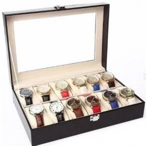 Pu leather watch case / kotak jam 12 slots 07