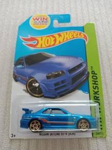 Hotwheels Nissan Skyline R34 Workshop Blue
