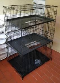 New Cat cage 3 Tingkat dengan tray penuh