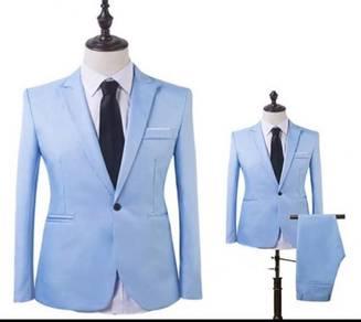 Men slim fit Fashion Blazer Suit Casual (Sky Blue)