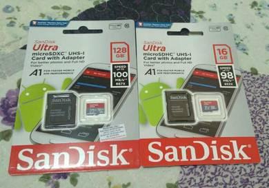 SanDisk micro SD card 128gb + 16gb (free)