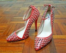 Sidewalk Studded Heels With Ankle Straps