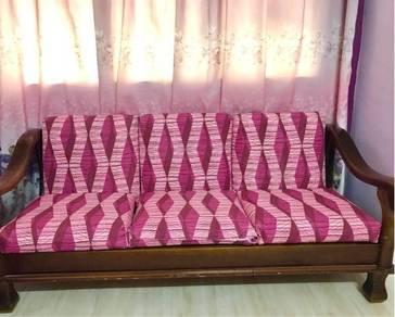 Kerusi Kayu Sofa 3 2 1 seater