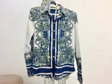 Zara Basic flower-print Long Sleeve Shirt