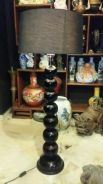 Vintage wood floor stand lamp large shade SLG