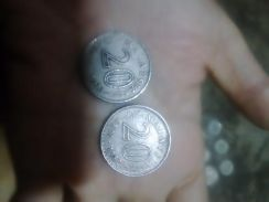 Old Malaysia coin.20cent and 1cent