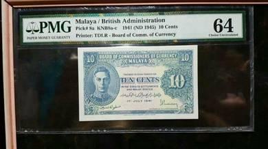 Malaya 10 cents PmG 64
