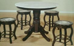 Round dining set marble 1+4 #4092