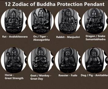 12 Zodiac Obsidian Buddha Pendant BORONG