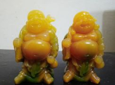 LUCKY BUDDHA STATUE [yellow-greenish stone]