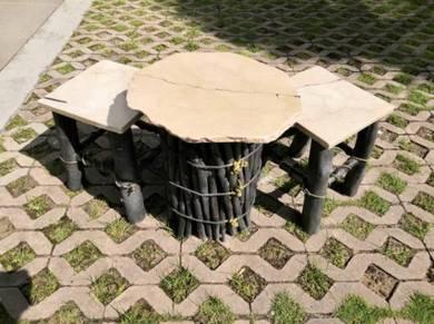 FurnArte Garden Set Iran travertine marble tops