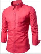 [03] Plain Pocket 17 Long Sleeve Shirt (Rose Red)