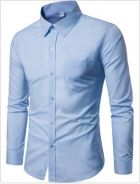 [03] Plain Pocket Long Sleeve Shirt (Light Blue)