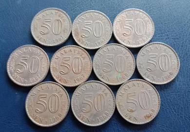 Duit Syiling 50 Sen 1967 & 1968 (10 pcs Set B)