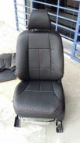 Proton waja semi leather seat cover black red line