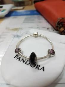Pandora Black Murano Red Heart Clip set