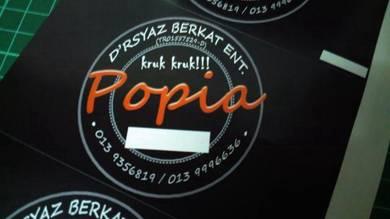 Sticker Label Produk Kerepek dan Kuih Raya Popia