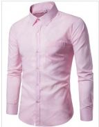[03] Plain Pocket 17 Men Long Sleeved Shirt (Pink)