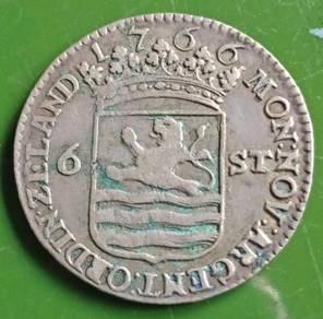 Duit Syiling Zeland 6 Stuiver 1766