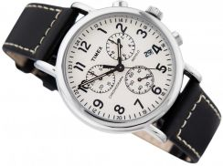 Timex watch cream chrono black leather