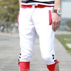 0405 White Men Sports Jogger Short Pants