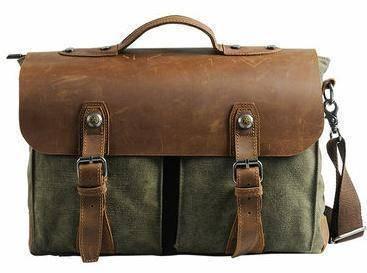 Mens Army Green Vintage Briefcase Laptop Sling Bag