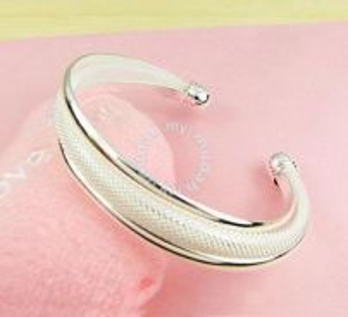ABBSM-S001 Fashion Solid Silver Bracelet Bangle