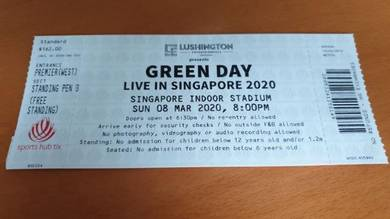 Green Day Live in Singapore Ticket