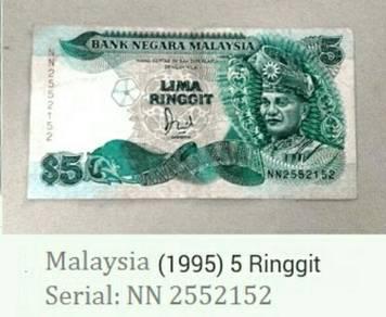 Duit kertas Lima ringgit Malaysia
