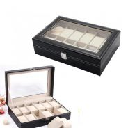 Pu leather watch case / box jam 12 slots A12