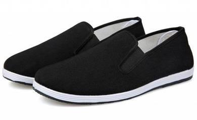 FA0268 Black Canvas Slip On Loafers Kasut Shoes