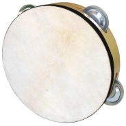 Tambourine With Skin (4 Pair Jingles)