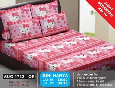 Set Cadar Queen Bergetah Hello Kitty